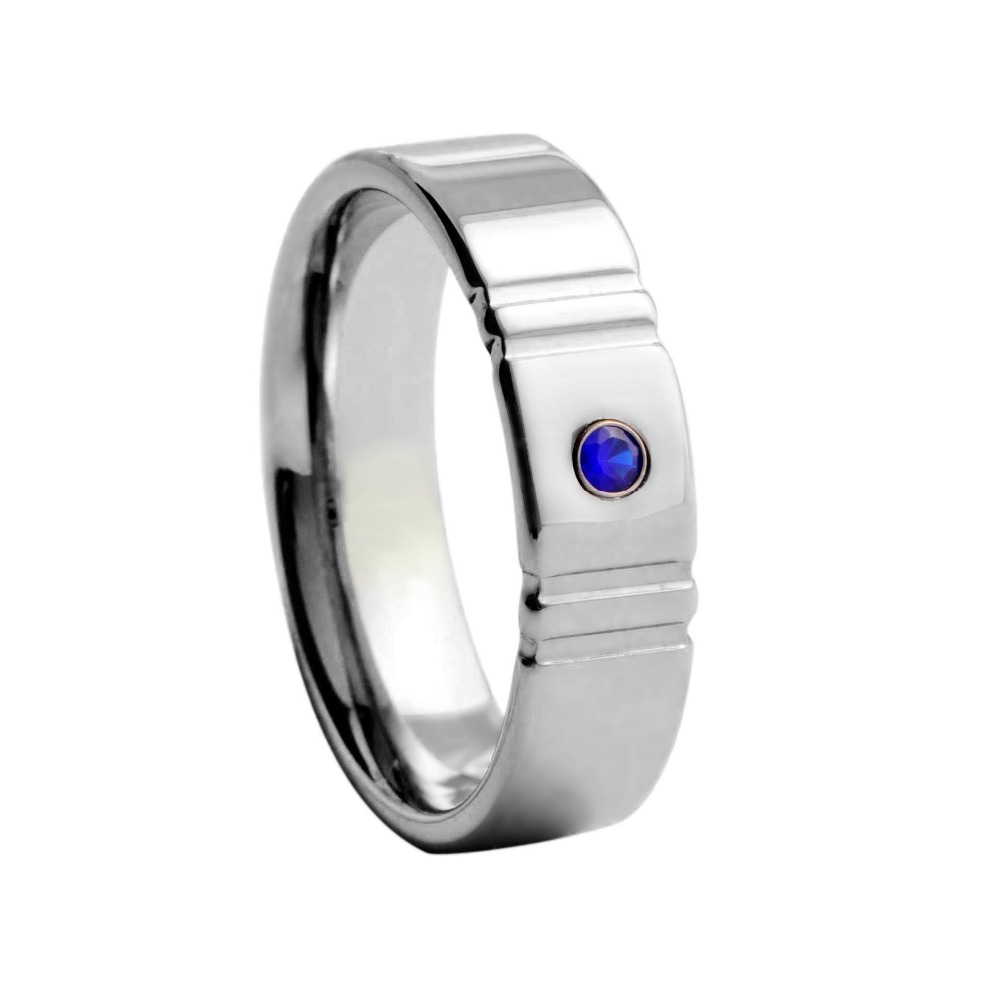 mens cz blue stone inlaid tungsten engagement wedding band rings