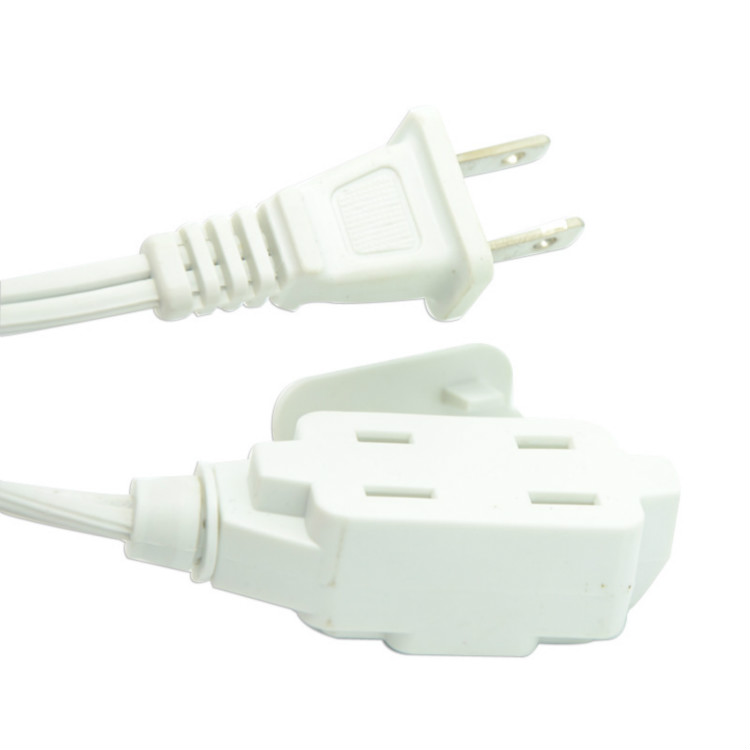 Indoor Convenient 10A/13A 125V 2 Pin US Extension Cords with Multi-functional Socket