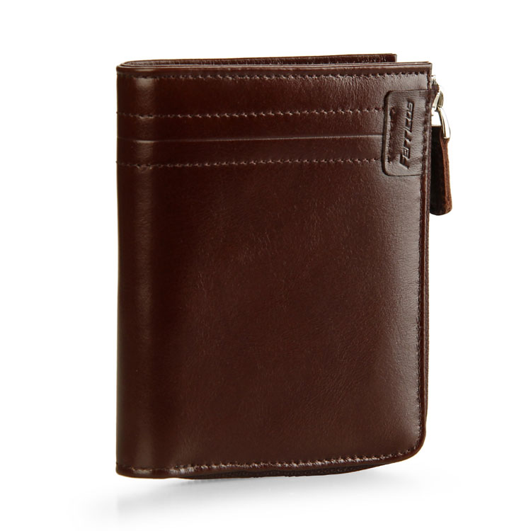 High Quality Zipper Coin Wallet Genuine Leather Slim Men's Rfid Wallet