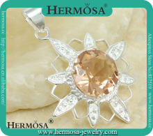 Sunflower Style 925 Sterling Silver Honey Topaz Charm Necklace Pendant For Goddess Y1138