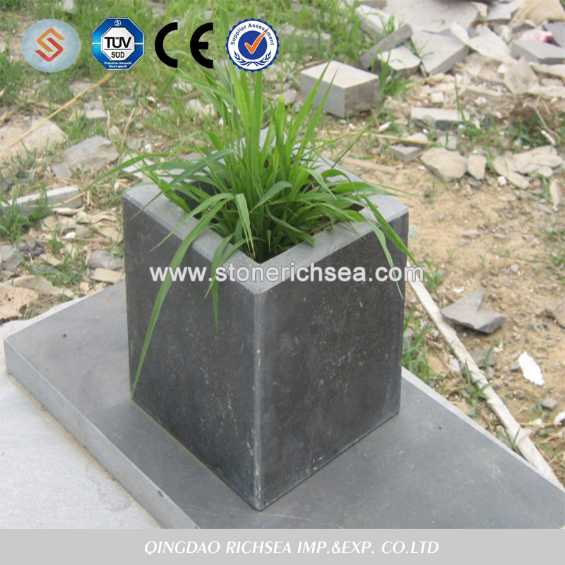 Outer Door Blue Limestone Flower Pot