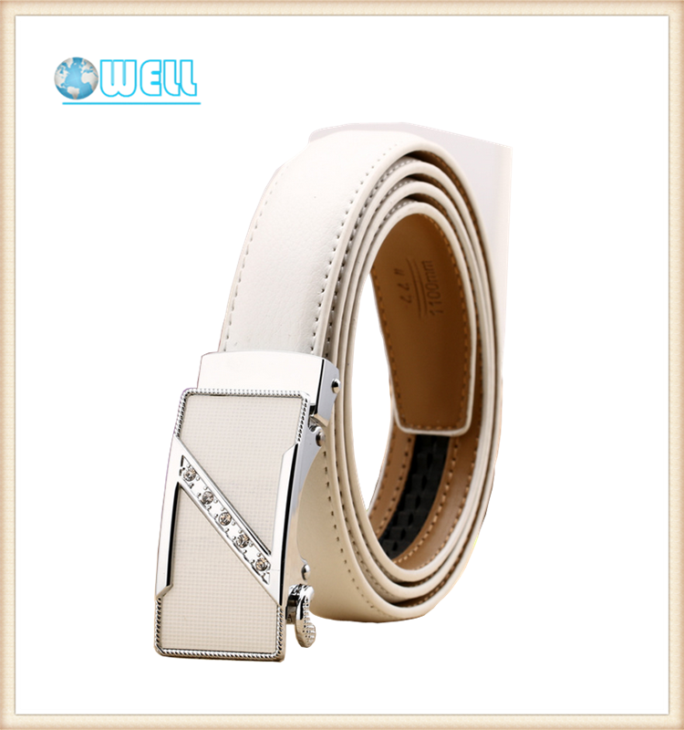 Ladies leather belt white color