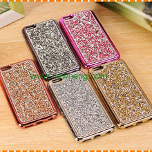 Luxury electroplating soft tpu handmade diamond bling crystal phone cover case for iphone 7