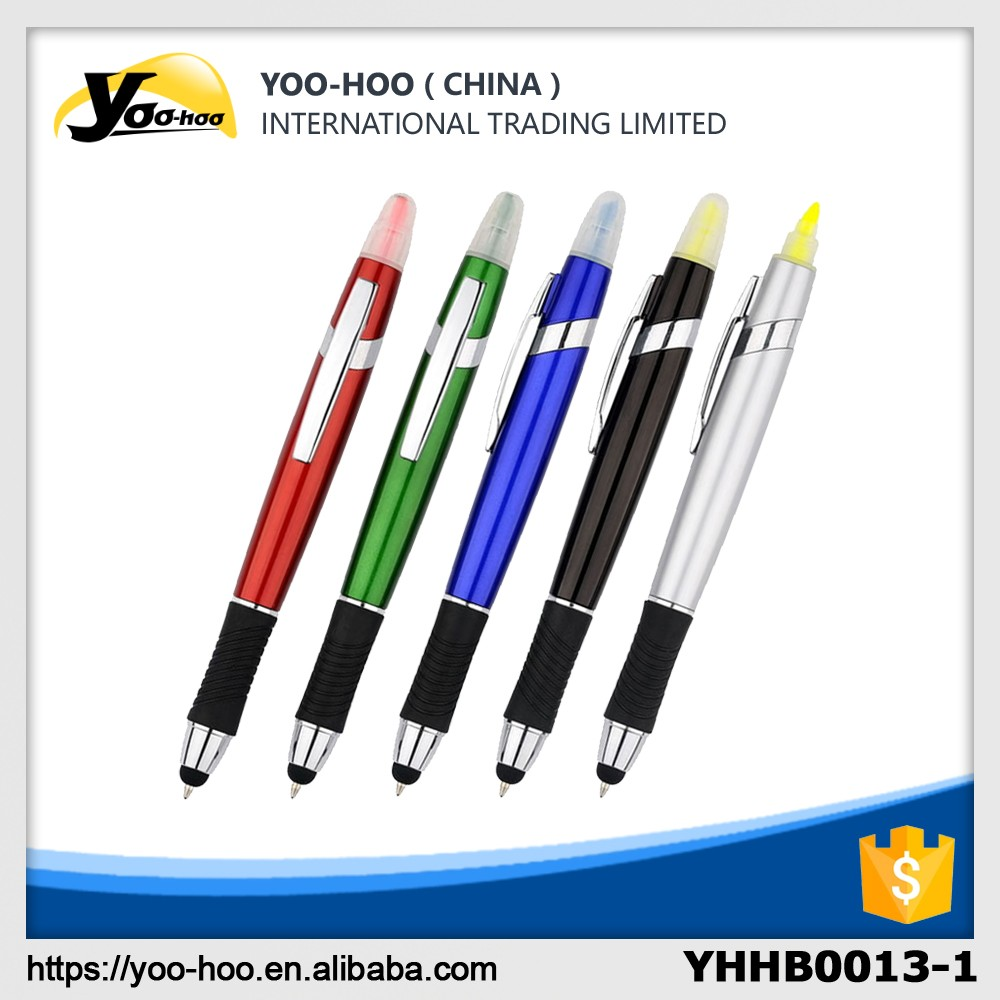 Screen touch stylus plastic ball pens with highlighter