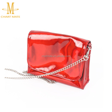 100% test high quality red color pure soft leather cosmetic bags cases