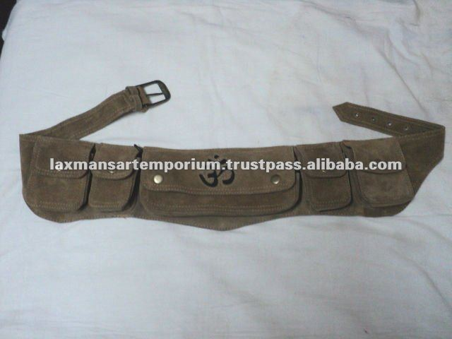 suede leather waist bags from india with many pockets