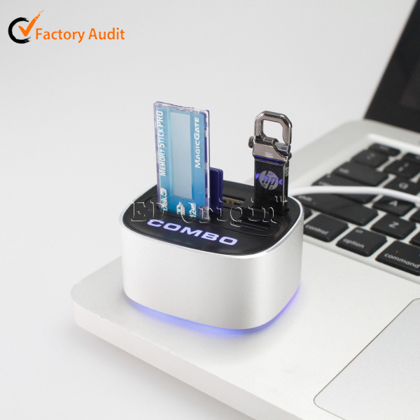 Wholesale factory high quality unique cute style micro 2.0 card reader usb/por hub/usb hub
