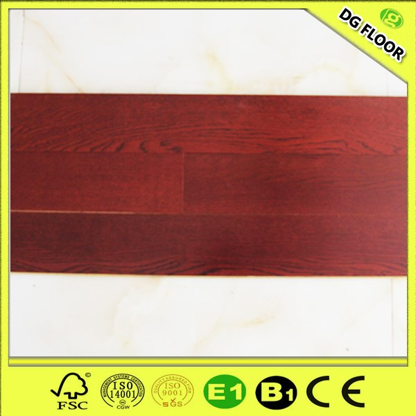 Red Brushed Engineered Oak Wood Flooring /Eucalyptus or poplar as baseboard
