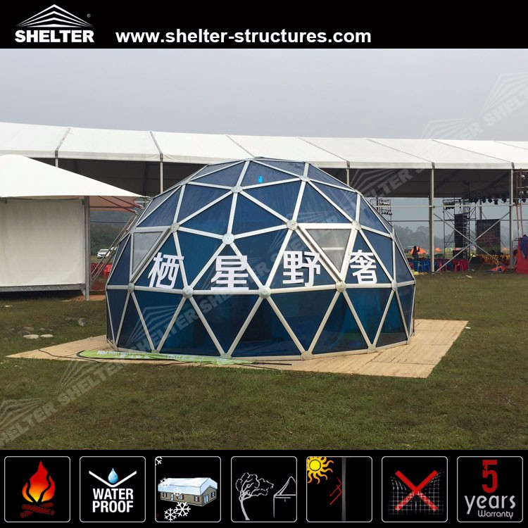 2017 Latest durable Semi- permanent building glass geodesic dome tent for hotel resort lounge room