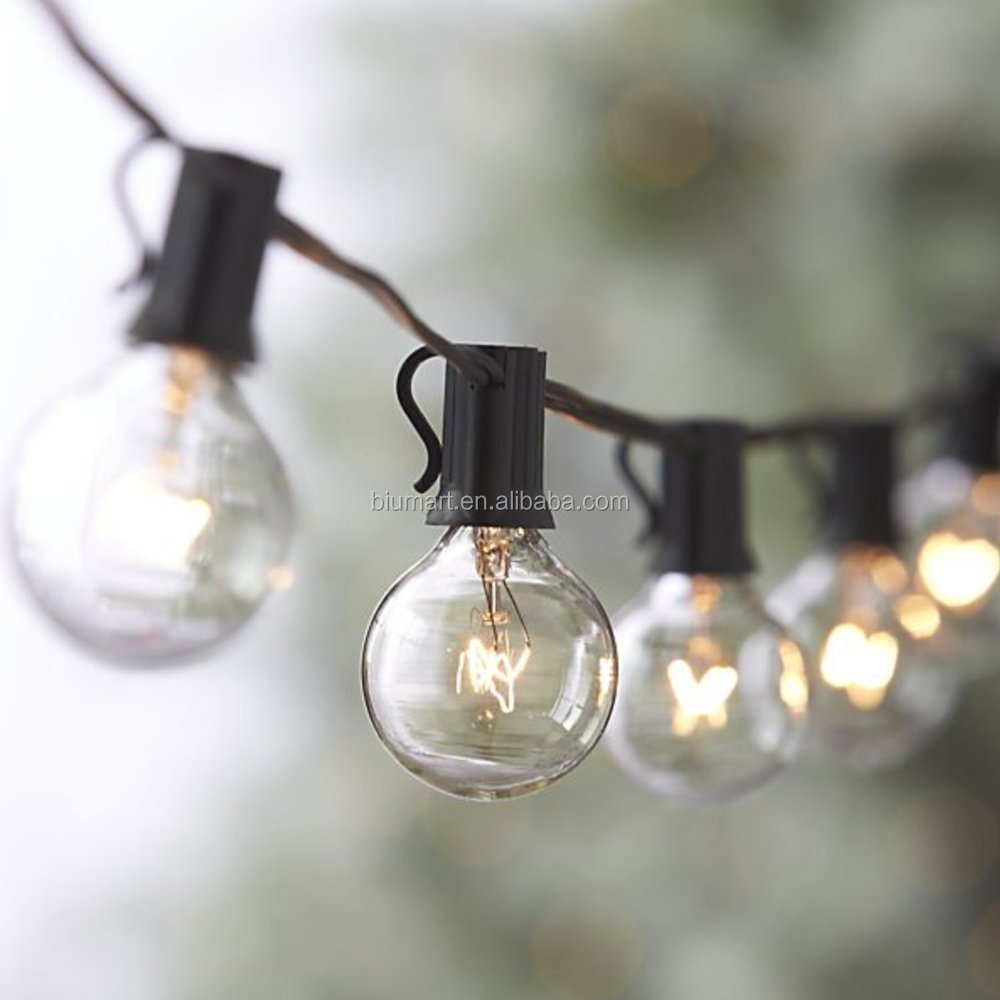 25Ft G40 Globe String Lights with 25 Clear Bulbs