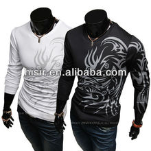 513 24h Tattoo Pattern Fashion Round Neck T-shirt 6 Styles Long Sleeve Slim Fit T-shirt