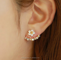 sterling silver plated ear studs and CZ crystal,flower earrings