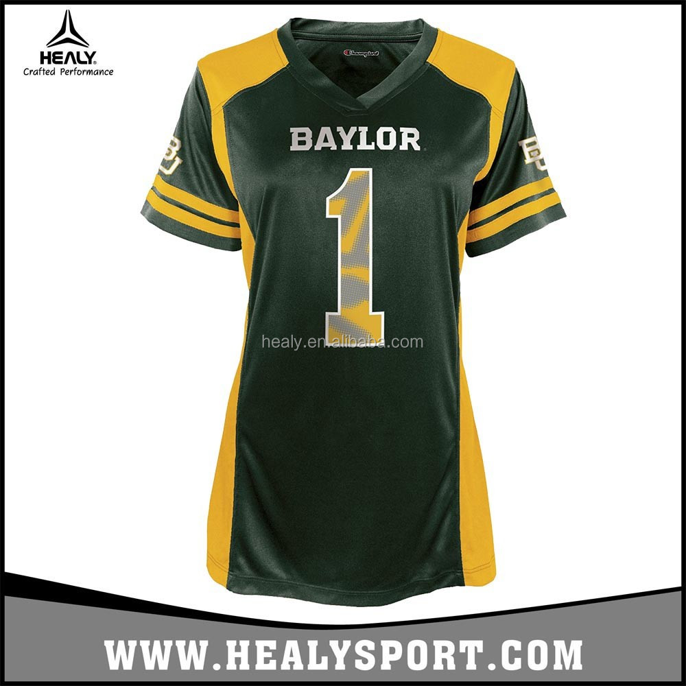 America NCAA Baylor Bears College Rugby Match Green Jersey