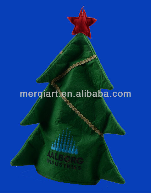 Brand New green santa tree hat decorated with red points