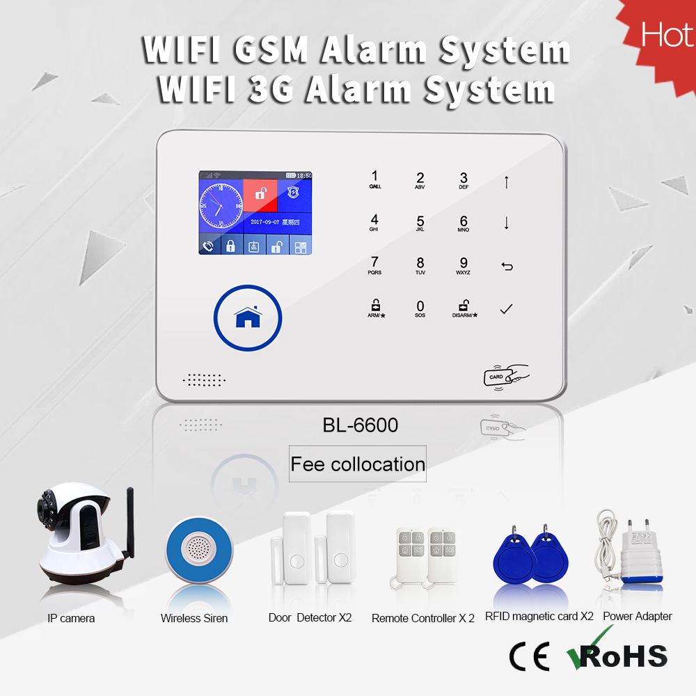 SMS GSM+WIFI or 3G+WIFI Alarm system with smart APP TFT Display 88 Wireless Home automation SIM Card Security Alarm system