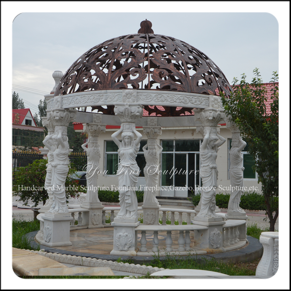 Outdoor Garden White Marble Gazebo With Metal Roof