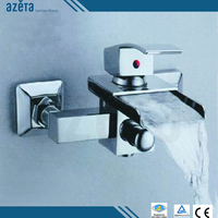China Online Shopping Sanitary Fittings Single Lever Wall Mounted Chrome Brass Waterfall Bathroom Bath Faucet