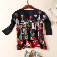 Wholesale price fashion USA style long sleeve patchwork hand patterns blouse designs for office