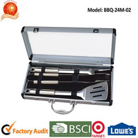 High quality 3 pieces stainless steel bbq tool setswith protable bbq aluminum case