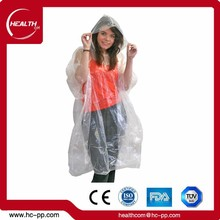 Disposable Clear Plastic Rain Coats PE Plastic Raincoats Mens Waterproof PE/Plastic Raincoat for Adult