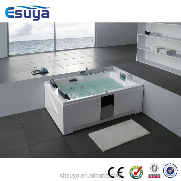 Bathroom corner double bathtub two person indoor bath tub for Indoor bathroom hot tubs