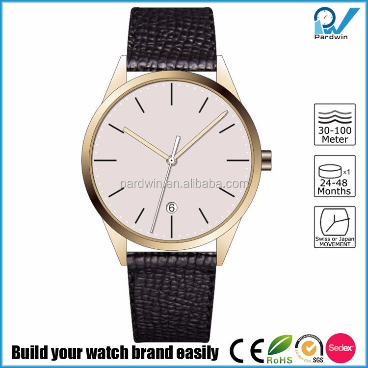 Men's polished steel wrist watches full grain leather watch strap domed scratch resistant sapphire crystal