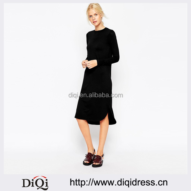 New Autumn Winter Dress Irregular Ladies Vestidos Side Split Long Sleeve Euramerican Casual Loose Women Dresses