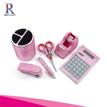 6 Piece Clear Crystal Office Supply Set: Pen Holder, Scissors, Calculator, Pen, Tape Dispenser & Stapler