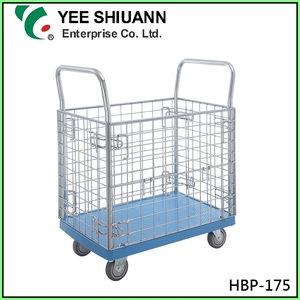 Yee Shiuann Plastic Platform Cage Baskets with Wheels Tool Hand Trolley