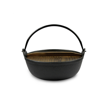 LFGB/SGS/FDA/CE seasoned cast iron Japanese sukiyaki pot with wooden lid