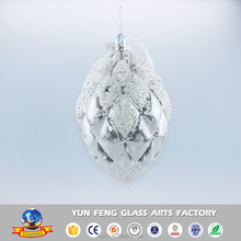 Creative design solid double point glass ball decoration with pearl