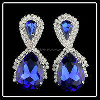 2015 Fashion High Quality Platinum Rhinestone East Indian Style Bridal Drop Earrings Sapphire Wedding Jewelry