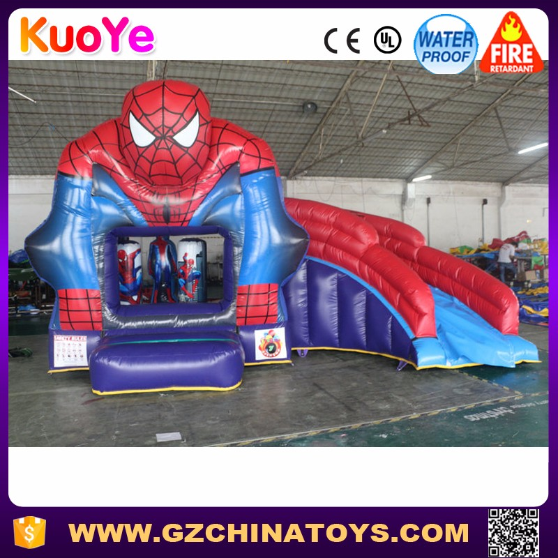 Commercial grade spiderman inflatable bounce house with slide