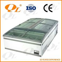 Supermarket Open Cooler Wall Cases island freezer display with glass cover