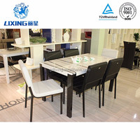 ISO 9001 Certification Leather Stainless Steel Dining Room Table and Chairs