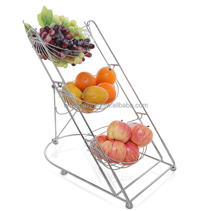 2017 Best selling products,home decoration wire 3 tier fruit basket stand