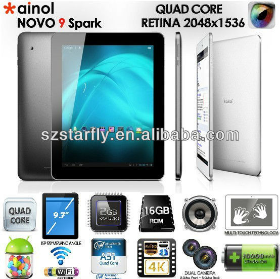Original Quality! Ainol Novo 9 Spark with Quad Core A31 9.7 inch Android 4.1 Retina IPS 2G RAM Android Tablet PC