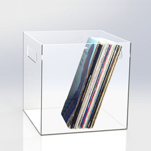 Desktop Clear Vinyl Record Storage Box, Acrylic Storage Tray with handle