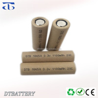 High power lifepo4 cell DTB18650 lifepo4 3.2v 1100mah 10C 15C 20C li-ion 18650 battery
