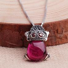 Thailand Sterling Silver Ruby Rhinestone Necklace 897608