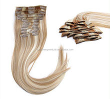 100% Indian Human Hair Mix Color Remy Hair Clip in Hair Extensions