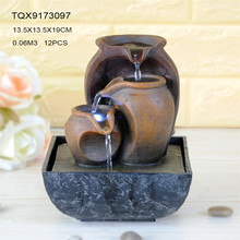 Home decoration artificial resin pots different size portable mini water fountains