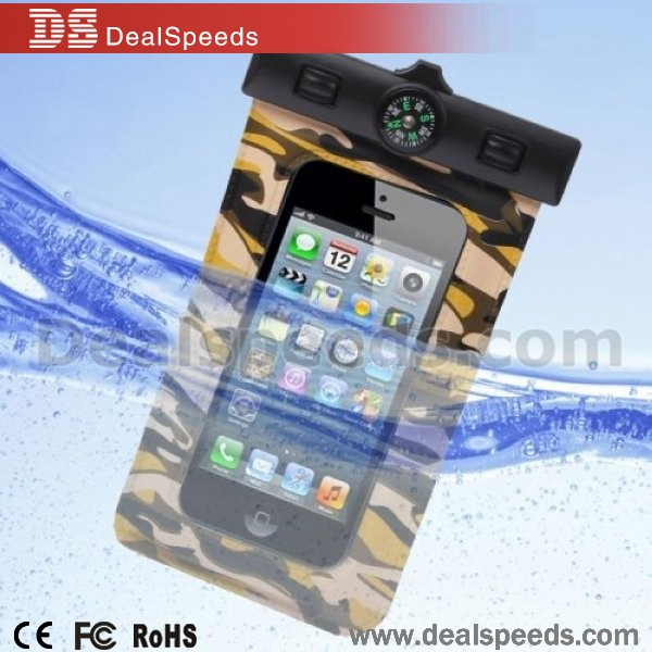 Camouflage Pattern Waterproof Bag with Strap&Armband/Compass for iPhone5/4/3/Other Similar Size Mobile Phones(IPX8)Yellowish Bro