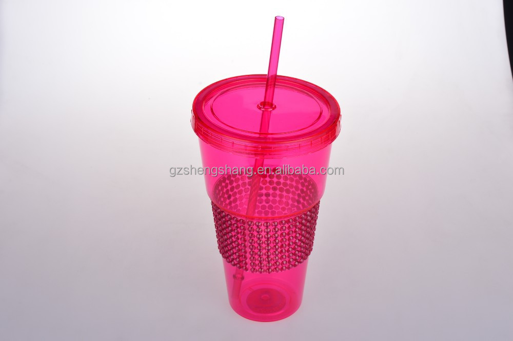 China manufacture hot sale Plastic Drinking cups with Lid And Straw -QCE 405