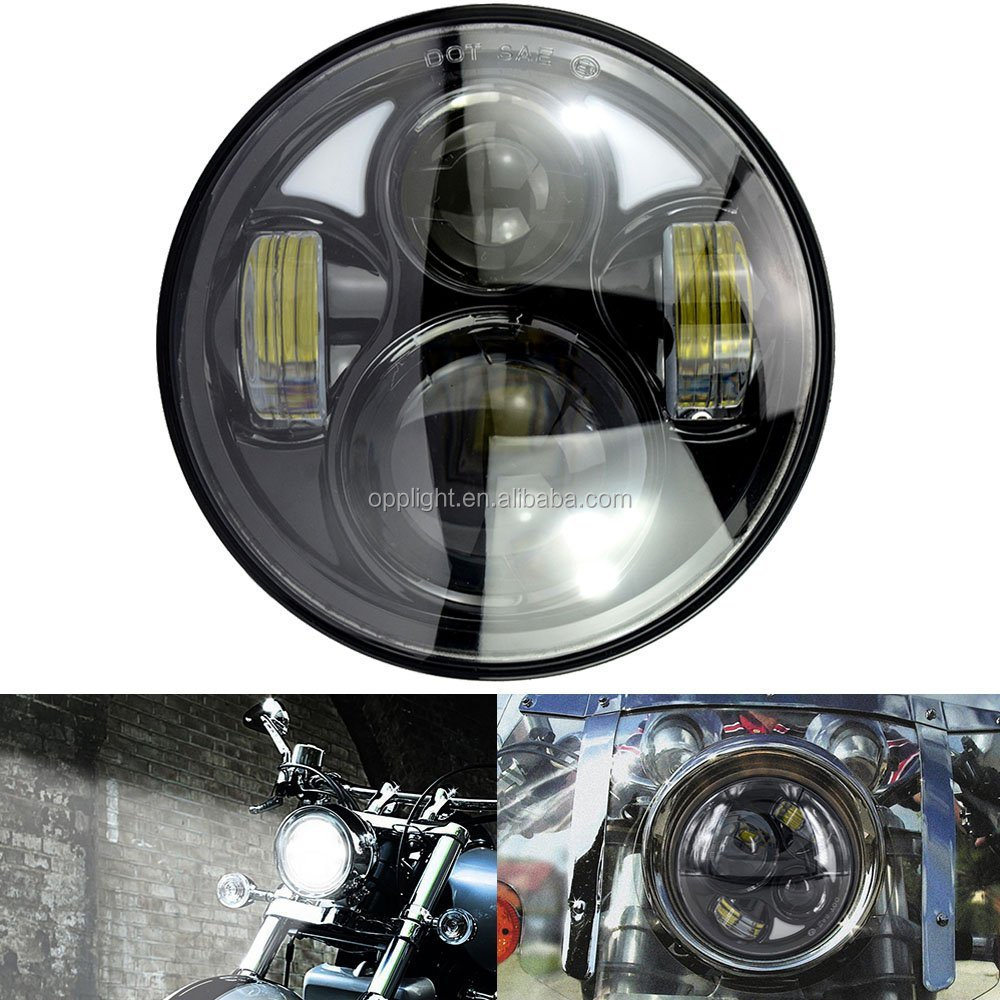 Mictuning Black 5.75 Inch LED Projector Hi/Lo Beam Headlight for Motorcycle