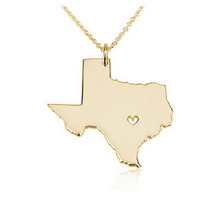 China factory custom map gold necklaces jewelry, rhinestone main stone Texas state charms necklaces (NC-035)