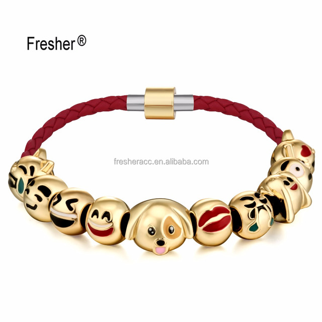 Wholesale gold plated beaded wrap snake chain small 10 charms cheap emoji smile face lucky bead bracelet for kids gift