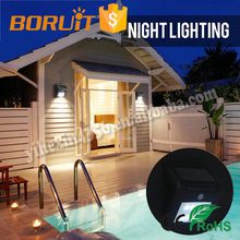 Boruit Solar Lights 8 LED Waterproof Solar Sensor Outdoor Wall Lamp for Patio, Yard, Garden with Activated Auto On/Off