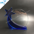 Popular Blank Round Blue Star Glass Trophy Plaque