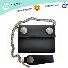 hot sell popular best product good quality black color genuine skin chain wallet
